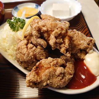 から揚げ定食(ケチャップ・マヨネーズ)(むつみ食堂 )