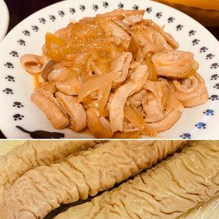 豚腸ボイルの辛味噌炒め