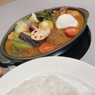 ベジタブルスープカレー(スープ:カシミール・ライス:小)(はまやカレー)