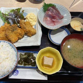 アジフライと刺身二点盛り定食(魚釜 日本橋横山町店 )