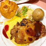 こだわり桜姫鶏ステーキとオムライス