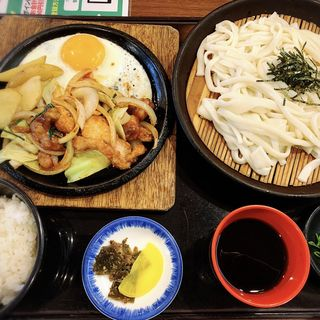 地鶏みそ鉄板定食+ざるうどん(はかた きねやうどん 原田店)