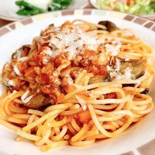 なすのミートソーススパゲティ