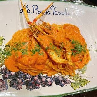 リングイネ 手長エビのトマトクリームソース  Linguine scampi di gamberi con salsa di crema di pomodoro