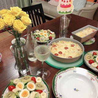 手作りグラタンとサラダ