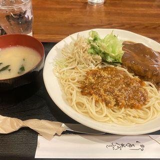 スパゲティミートソース+ハンバーグ(ヤナギ )