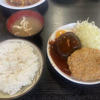 ハンバーグ・コロッケ定食(森の茶屋)