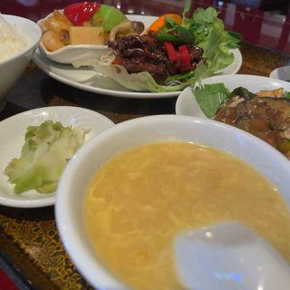 海老のXO醬塩味炒めと牛肉の中国味噌炒め