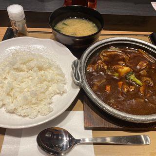 牛すじ&野菜カレー定食