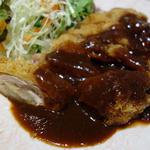 ジャンボチキンカツ定食デ味噌ース