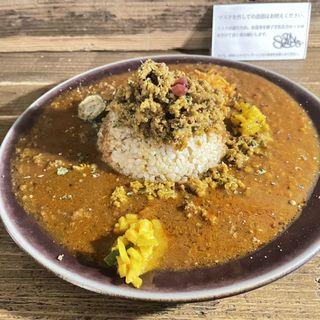 チキンキーマ+トマトカレー+お肉(ラム)カレー