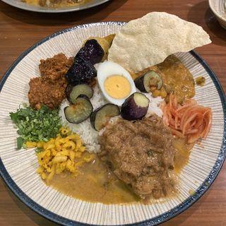 週替わりカレー&キーマ&豆MIX(FISH )