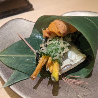 太刀魚天ぷら、かぼちゃ天ぷら、うに