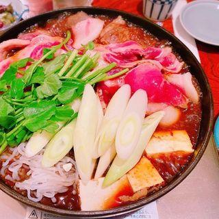 猪鍋一皿とお料理(四品)セット