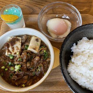 日山特選☆牛すじ煮定食〜すき焼き風〜