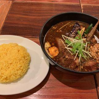 ひき肉と納豆スープカリー + 角煮