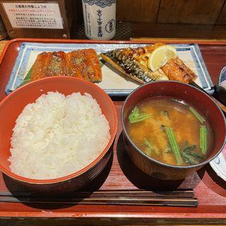 ウナギ&トロサパ定食+サーモンハラス串
