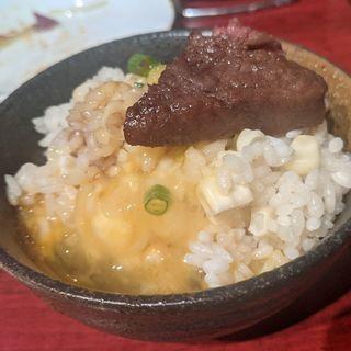 残った卵と季節のトウモロコシ炊き込みご飯TKG