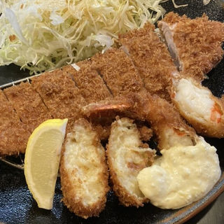 ヘレミックス定食(カニコロッケ海老フライチョイス)
