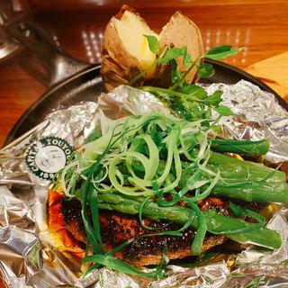 九条ネギとグリーンアスパラの照り焼きハンバーグステーキ