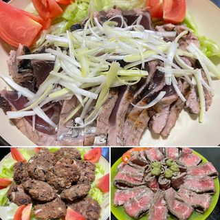 カツオのたたき&ローストビーフ&おからひじき照り焼きハンバーグ(自宅)