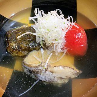 鮑肝豆腐とトマトのお椀
