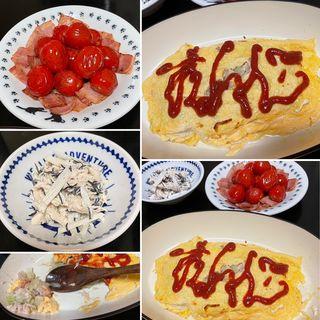 オムキャベ&大根ひじきのサラダ&トマトベーコン炒め