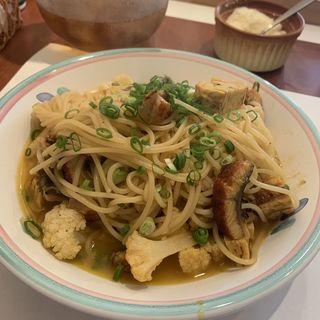 鰻の蒲焼きバターしょうゆスパゲッティ
