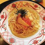 白神あわび茸ステーキと帆立といくらのペペロンチーノ(五右衛門 稲城店 )