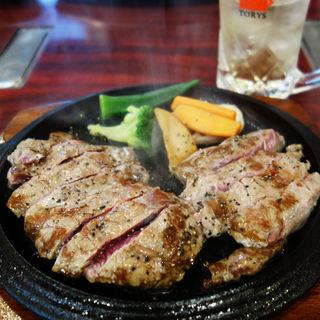 めがねステーキ定食300g