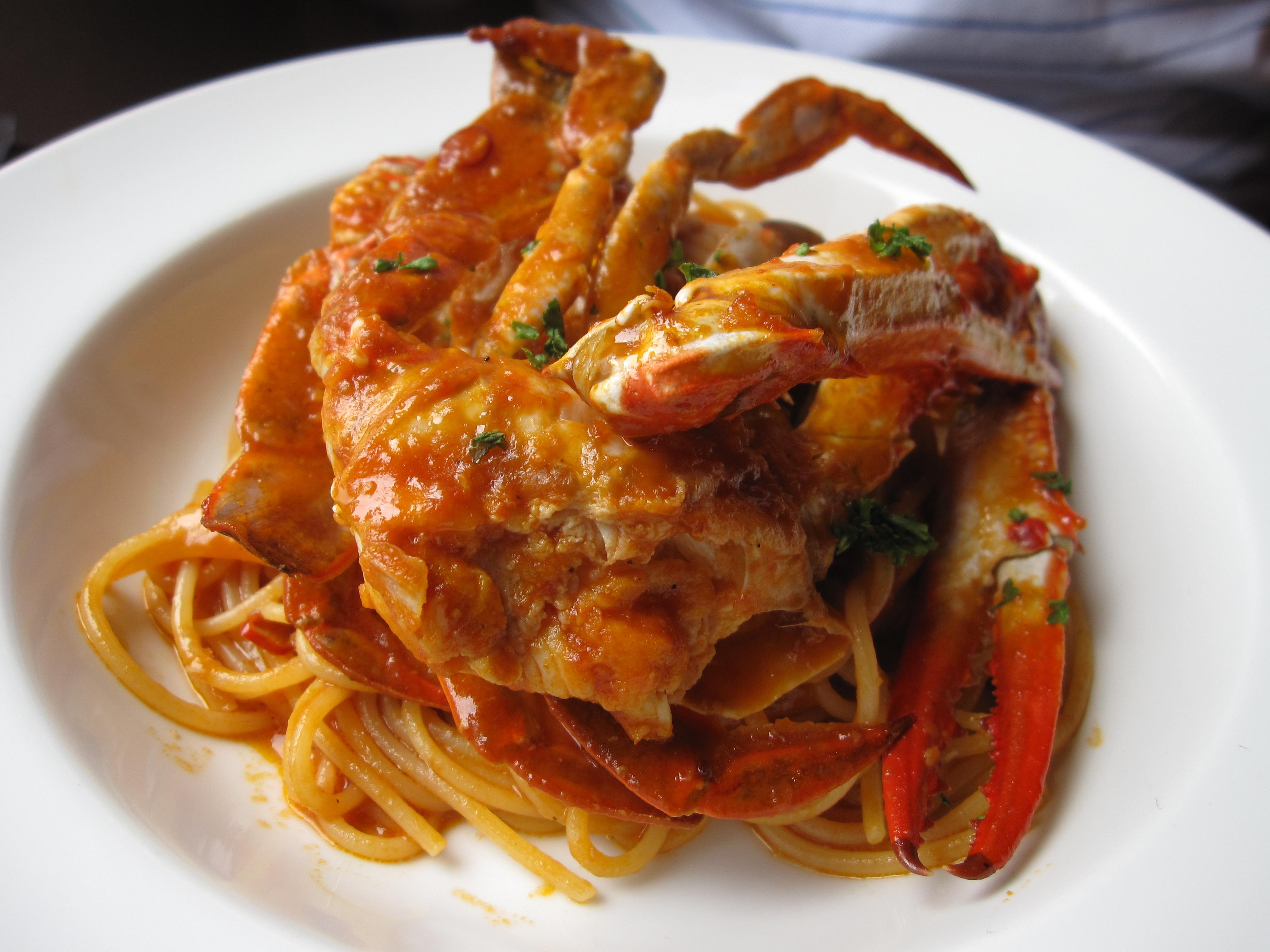 カニのスパゲッティ